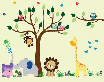 Kids Tree WALL DECAL, Reusable Fabric Wall Decal, Jungle Decal - N150