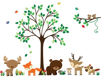 Kids Tree WALL DECAL, Reusable Fabric Wall Decal, Jungle Decal - N173A