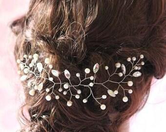 Wedding hair accessories Pearls Rhinestone Floral Hair Vine spray  Bobbi Pin Bridal hair comb Bridal headpiece