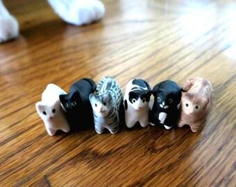 Ceramic Miniature Cat Sculpture Pet Cat Ceramic Animal Totem Cat Lover Gift Tiny Cat Gift Miniature Animal Figurine Cat Decor Pocket Animal