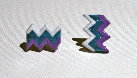 Chevron Post Earrings - Purple, White and Blue Glitter - Zig Zag Polymer Clay
