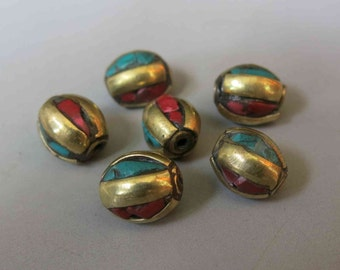 2pcs Nepal Tibetan Brass Bead With Turquoise Coral Inlay 11mm x 9mm - A385