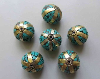 Nepal Tibetan Brass Bead With Turquoise Inlay 21mm x 18mm - A404