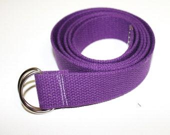 Purple Cotton D-Ring Belt