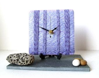 Wool Desk Clock / Small Wall Clock Marbled Lilac Mauve Purple Yarn Quartz Clock