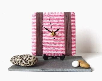 Wool Desk Clock - Candy Pink Desk Clock - Stripy Clock - Pink and Brown Clock - Square Desk Clock - Wool Yarn Clock