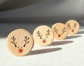 "Handmade Reindeer Buttons, Pyrography Wood Button, DIY Christmas Ideas 4pce  1"" or 25mm"