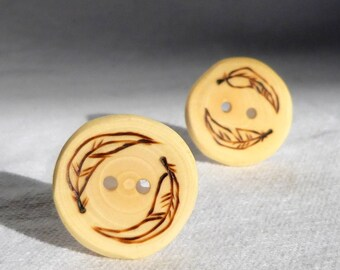 2 Feather Buttons, 1 Inch Wood Buttons, Tree Branch Buttons, Wood Sewing Buttons/ Wooden Buttons  2 pce  25mm or 1""