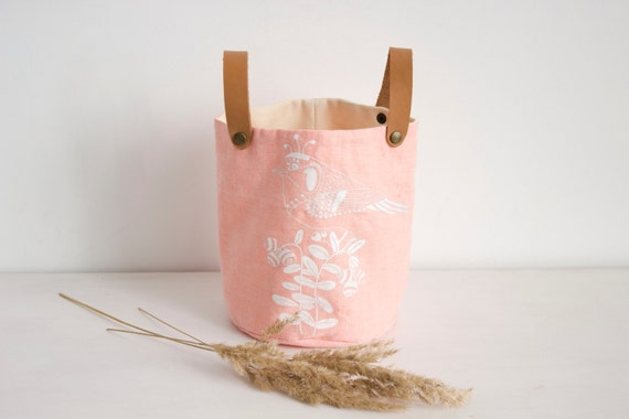 Pink  Fabric Basket, screen printed Bird design