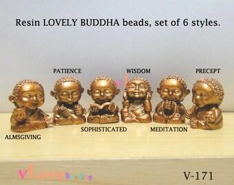 Resin LOVELY BUDDHA beads, set of 6 styles. 19 x 23mm.(V-171)