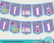 Monsters Colors Inspired High Chair / I'm One / Age / Printable Banner - 300 DPI