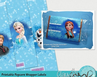 Frozen Winds Inspired Party Printable Popcorn Wrapper Label - 300 DPI