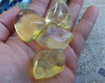 Yellow Obsidian ~ 1 large Reiki infused tumbled stone