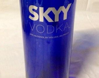 Skyy Vodka Liquor Bottle Glass or Vase. Recycled Glass Bottle.