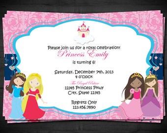 Pink Damask Princess Party Birthday Invitation