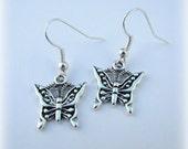 Antiqued Silver Butterfly Dangle Earrings (E49)