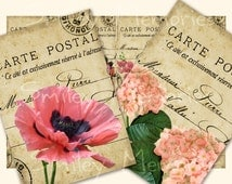 Instant download Vintage Flowers Post Cards, digital Collage Sheet and 8 individual images JPEG files, 300 dpi 8 Hang, Gift Tags, Aceo Cards