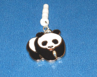 Panda Cell Phone Dust Plug Charm Attached
