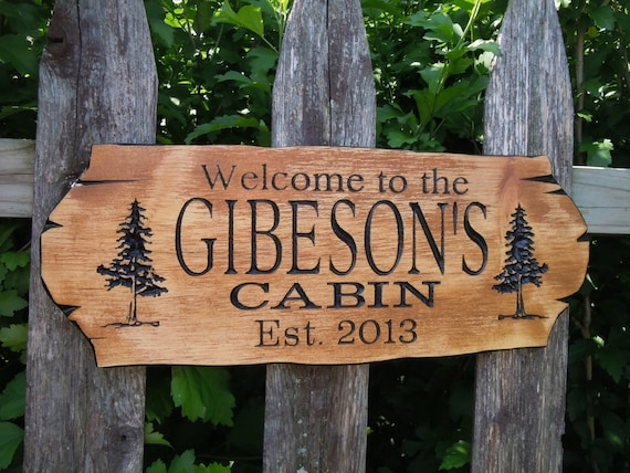 Unavailable listing on etsy for Cabin signs wood