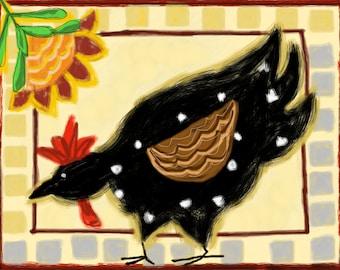 Chicken folk art,chicken painting,black chicken print