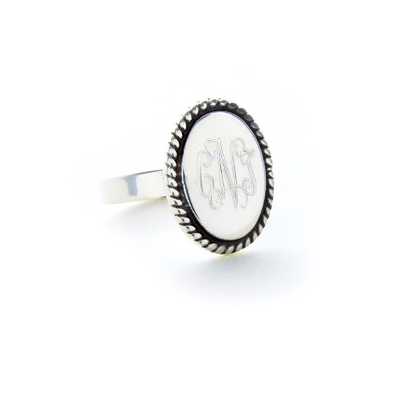 monogrammed ring braided oval sterling silver