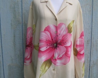FREE SHIPPING on this Vintage Orchid Floral Print Blouse (Extra Large)