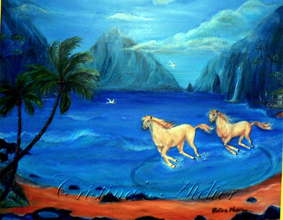 Untamed heart. Original oil on canvas-Equestrian tropical art-Blue art-Wall home decor-Canvas art-White horses running,Fantasy art, Seascape