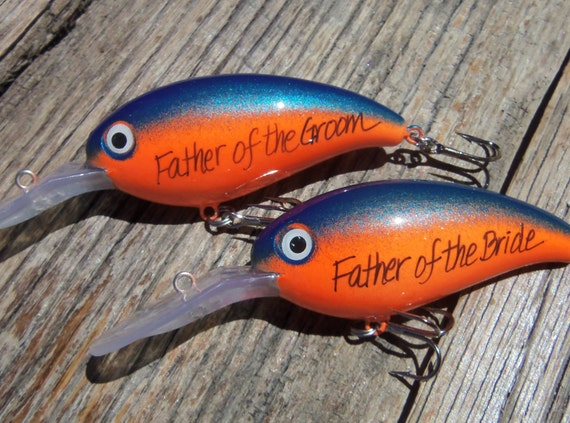 Personalized fishing lure painted lures wedding gift parents for Engraved fishing lures