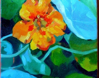 Original, framed oil painting, nasturtium
