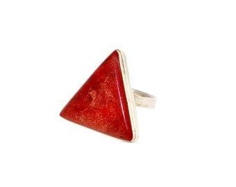 Red Sponge Coral Triangle Sterling Silver Ring