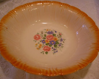 "Bowl Vintage ""Homer Laughlin"" Beautiful Antique Pumpkin Color Edge"