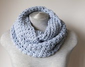 Crochet infinity scarf, chunky scarf in Soft Pale Blue, loop scarf, warm and luxuriously soft!