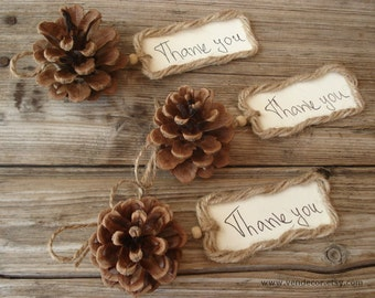 12 Natural Pine Cones with Twine Tags, Pine Cone Place Card Favors, Forest Wedding Decor, Rustic Woodland Wedding Fall Winter Wedding Favors