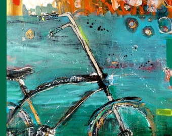 High energy mixed media Chopper bicycle print on canvas