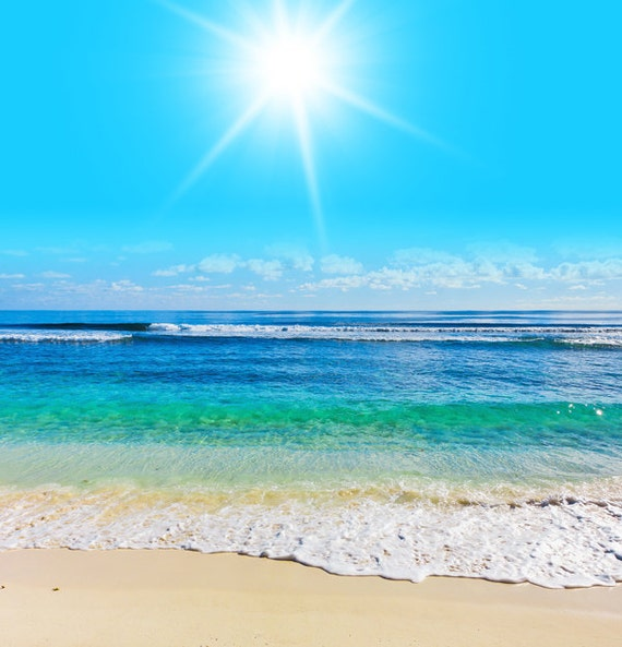 Items similar to wall mural beach scene sea ocean water for Beach mural ideas