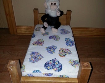 Wooden Toy Doll Bed Includes The Mattress ~ Fits Up To 18 Inche Baby