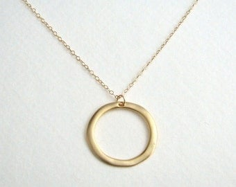 Simple Gold Circle Necklace, Gold Hoop Necklace, Gold Eternity Necklace, Everyday Necklace, Simple Gold Necklace - 14K Gold Filled Chain