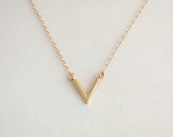 Gold Arrow Necklace, Gold Chevron Necklace, Minimal Necklace, Matte Gold Pendant, V Necklace, Modern Geometric Necklace- 14K Gold Fill Chain