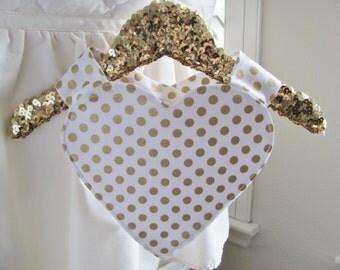 Gold baby bib / Heart baby bib / Polka dot baby bib