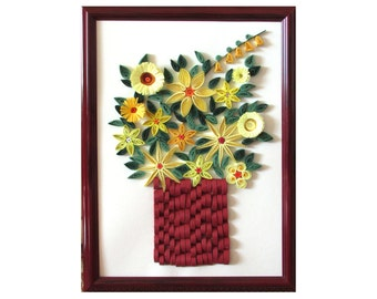 Quilled Yellow Posies in Red Frame, Flower Quilling Art, Floral Wall Art, Framed Posies, Quilling home decoration