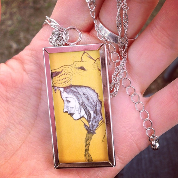 "Lioness necklace 16"" chain 1x2 inch double sided charm"