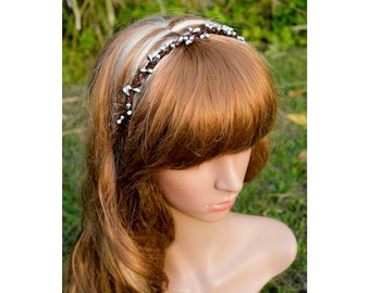 Pearly Silver Berry Headband