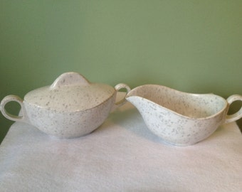 Melmac sugar bowl and creamer set