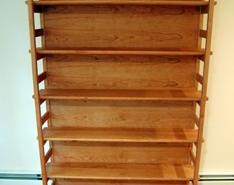 Cherry Asian Style Tall Bookshelf with Adjustable Shelves