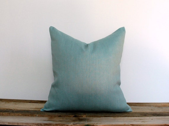 Solid Blue Throw Pillow : Linen Blue Decorative Pillow Cover Solid Throw by MadeOfClothShop