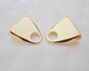 1 set 10mm Flat Cord Ends, Hypoallergenic Electroplated Gold Triangle, jewelry findings, leather supply