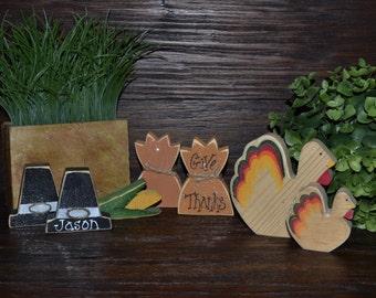 Primitive Thanksgiving Decor Add-on Pieces, Personalized Fall Decor, Thanksgiving Decoration Housewarming Hostess Gift Pilgrim Indian Turkey