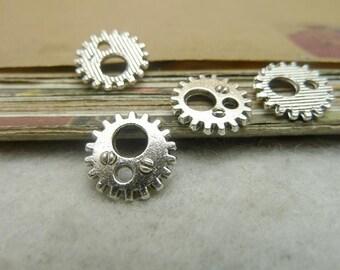 100pcs 12mm Antique Silver Clock Gear Charms Pendants AC7121