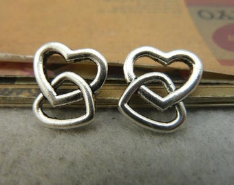 30pcs 14x15mm Antique Bronze Silver Heart to Heart Charms Pendants Jewelry Findings AC3082