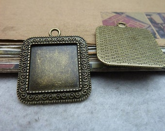 10PCS 20x20mm Antique Bronze Square Bezel Cup Cabochon Mountings AC7528